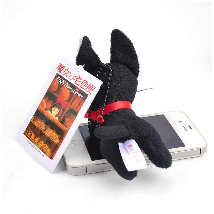 Hayao Miyazaki Kiki Preto Serviço de Entrega JiJi Deitado De Pelúcia Brinquedo Macio Recheado Saco Chaveiro Pingente de Presente de Natal Mini Mochila