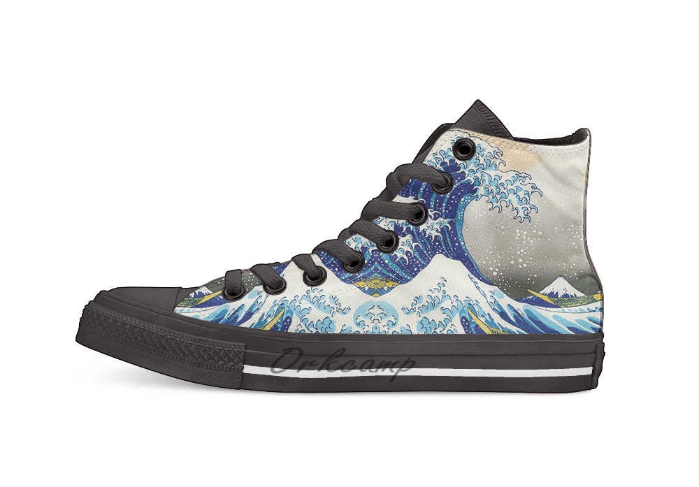Katsushika Hokusai The Great Wave of Kanagawa  Casual High Top Canvas shoes sneakers For Drop shipping