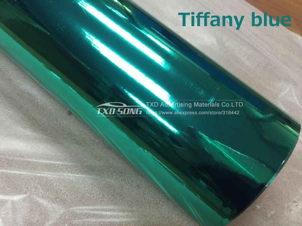 Новейшая Высокая растягивающаяся Водонепроницаемая УФ-защита красная хромированная зеркальная виниловая пленка рулонная пленка для автомобиля Наклейка Лист - Название цвета: Tiffany blue