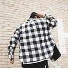 Red Black Plaid Quilted Cotton Shirt Men 2019 Vintage Hip Hop Plus Thick Tartan Long Sleeve Shirt High Street Loose Clothing - 3
