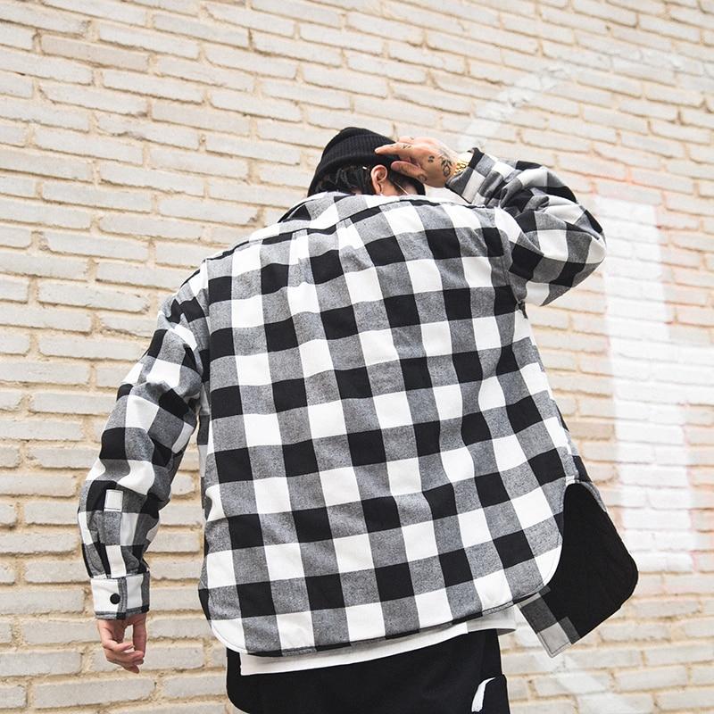 Vermelho preto xadrez acolchoado camisa de algodão dos homens 2019 vintage hip hop mais grosso tartan manga longa camisa alta rua solta roupas - 3
