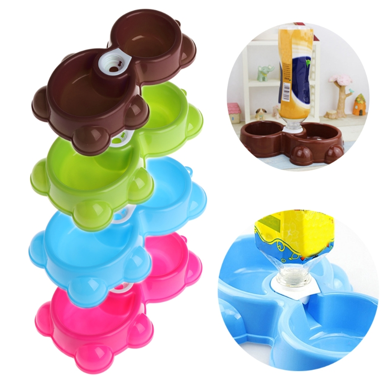 1pc Double Plastic Dog Cat Puppy Pet Bowl Non Slip Food Water Feeding Dish Automatic Water Dispenser W215