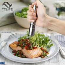 TTLIFE Portable Stainless Steel Thumb Push Salt Pepper Mill Grinder Spice Sauce Mill Grind Stick Kitchen tool Cooking Tools