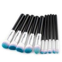 Brand New 10pcs Wood Handle Makeup Brushes Kit Set Eyeshadow Contour Brush Beauty Cosmetic Large Powder