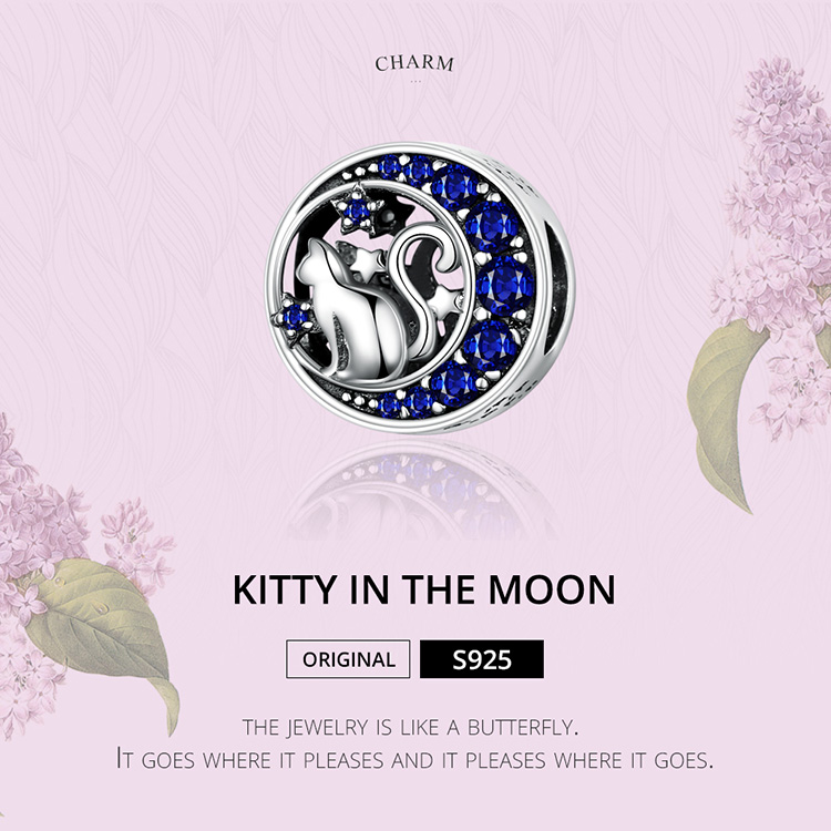 HTB1DZ97UwHqK1RjSZFgq6y7JXXaq BAMOER Silver S925 Beads Sterling Silver 925 Blue Moon Naughty Cat Pet Charms for Bracelet Bangle DIY Jewelry Making SCC1204