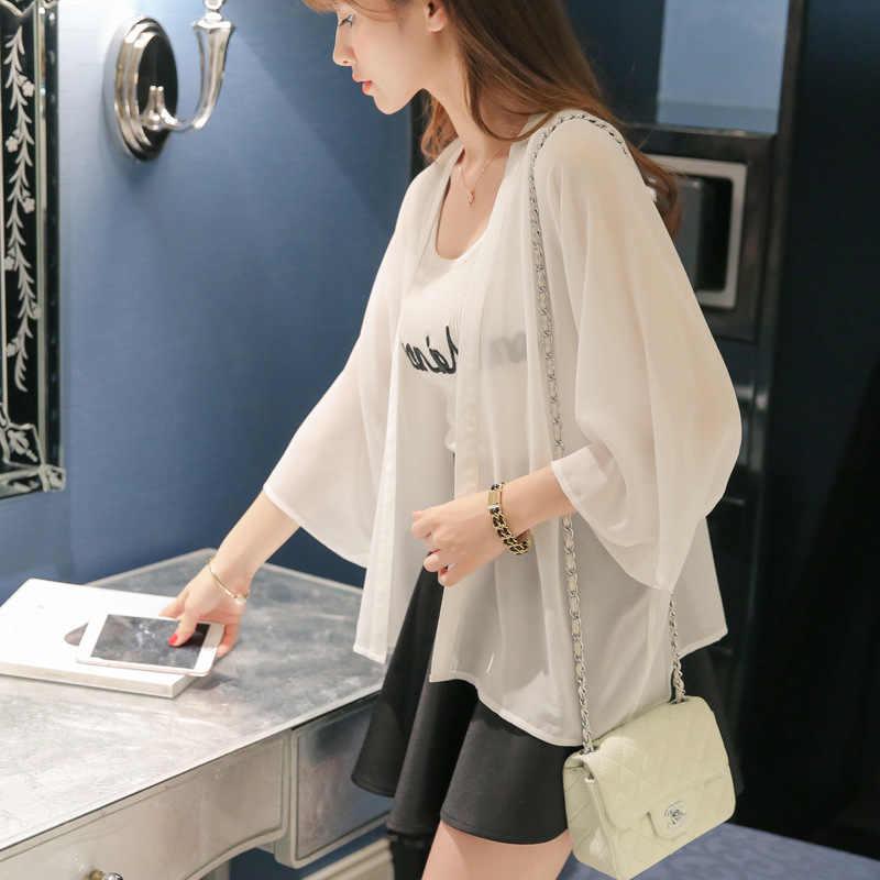 Женские топы, кардиган, блузка, Blusa, новая весенне-летняя Женская Корейская Повседневная шифоновая рубашка, легкая Солнцезащитная одежда