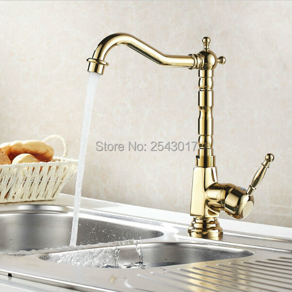 Kitchen Swivel Faucet Golden Brass Finished 360 Degree Rotation Deck Mounted Hot and Cold Mixer Taps