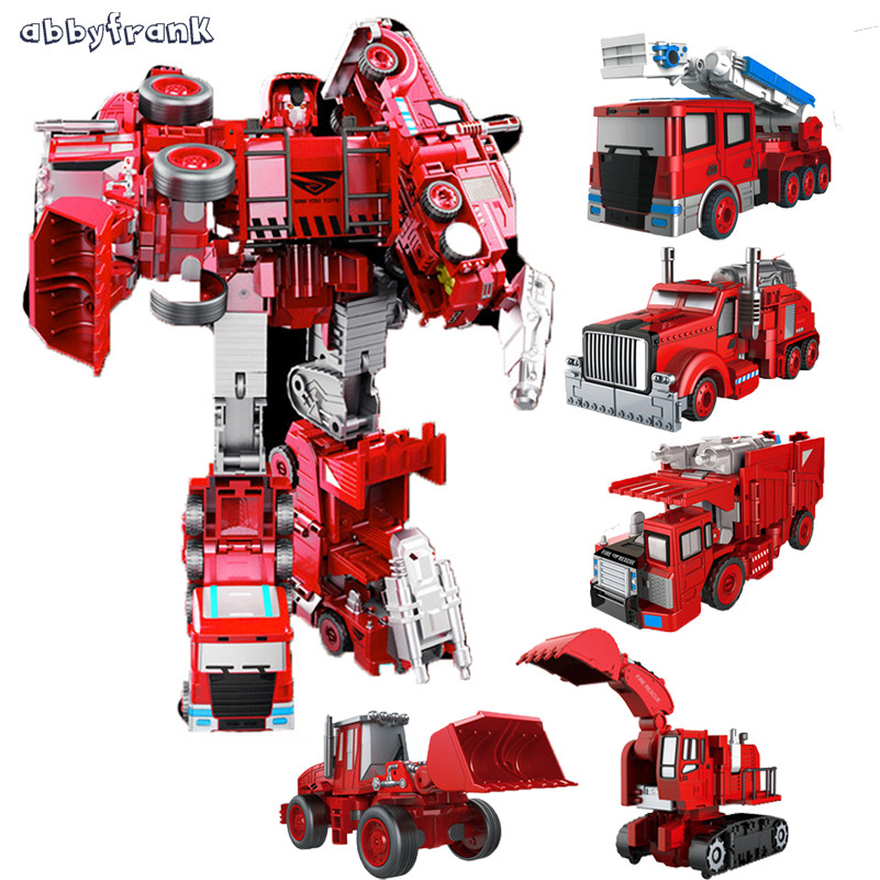 Abbyfrank Robot Car Metal Alloy 5 in 1 Transformation Excavator Fire Engine Bulldozer Deformation Fireman Toys Classic Model maisto jeep wrangler rubicon fire engine 1 18 scale alloy model metal diecast car toys high quality collection kids toys gift