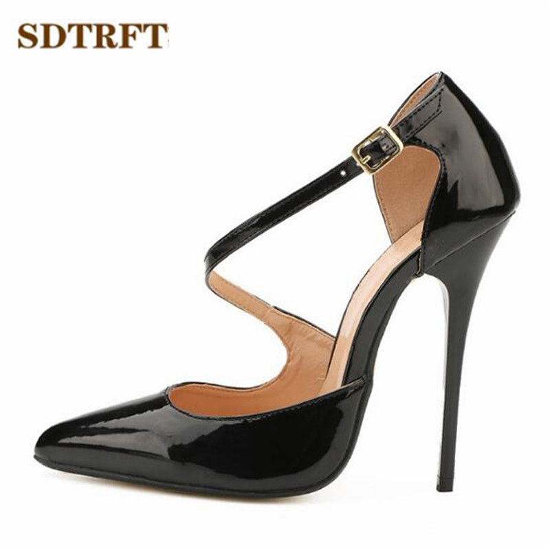 цены SDTRFT Crossdresser Plus:40-45 46 47 48 49 Gold Bottoms 14cm thin heels sexy Sandals Patent Leather D'Orsay pumps women shoes