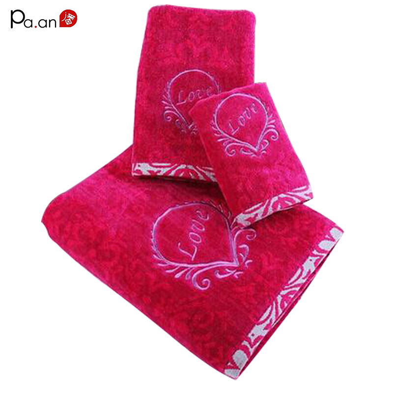 3 piece /set rose red cotton towel set love embroidery adult face bath towel thick absorbent bathroom products home textile