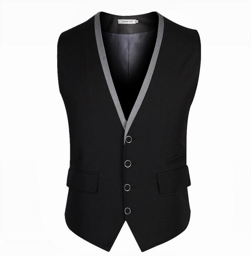 Men Suit Vest Black Grey 4 Buttons V Collar Classic Dress Slim Fit Vests Male Sleeveless