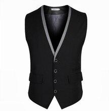 Мужчины жилет черный серый 4 кнопки V воротник классический тонкой жилеты мужской рукавов марка мужские формальные свадьба жилет 3XL