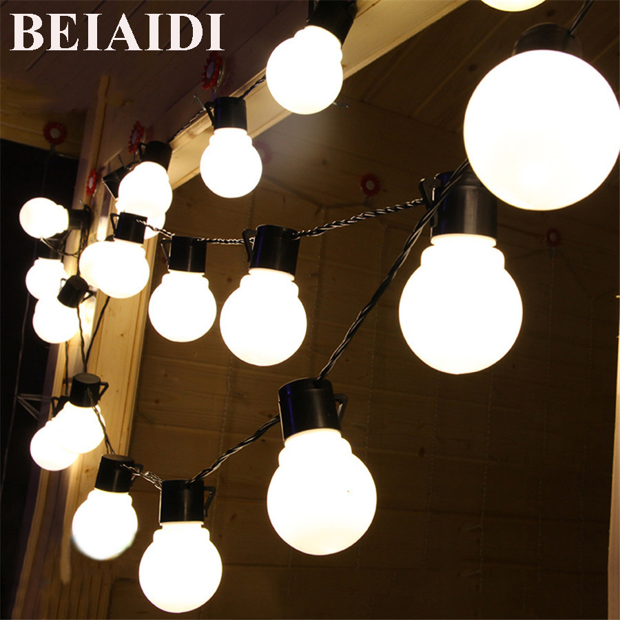 BEIAIDI Outdoor lighting 5M 10M 5cm big size Ball LED string Light ...