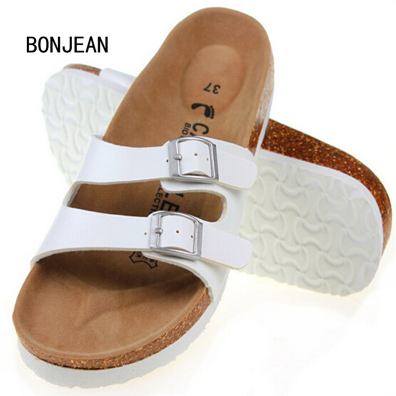 Summer Women Sandals Cork Slippers Shoes Casual Outdoor Shoes Flats Buckle Fashion Beach Shoes Slides Plus Size 35-42 yierfa fashion cork slipper sandals 2017 new summer women patchwork beach slides double buckle flip flops shoe white purple red
