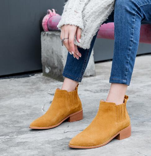 Ladies'spring and autumn pointed toe low heel ankle boots Women black/gray solid multipurpose chunky heel short boots