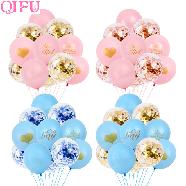 QIFU Baby Shower Boy Girl Its a Girl Blue Pink Balloon Party Decoration First Birthday Gender