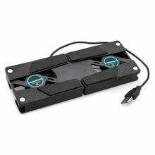 Laptop Desk Support Dual Cooling Fan Notebook Computer Stand Foldable USB Rack Holder Black