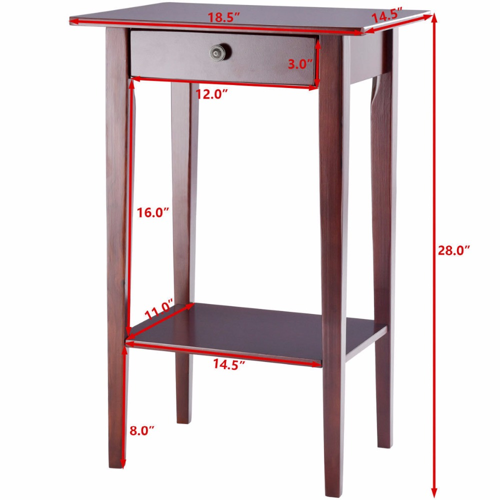 Giantex End Table Tall Wood Side Table Accent Style Telephone Stand Table  Drawer Shelf Living Room Furniture HW57881 In Console Tables From Furniture  On ...
