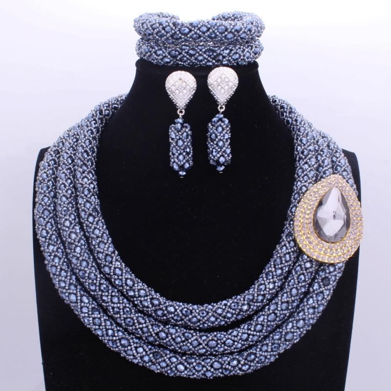 Gorgeous Black Silver Three Layers Nigerian Jewelry Sets Big Design Jewellery Sets For Women African Bridal Jewelry Set 2017 new purple jewelry bridal sets 3 layers bridal jewelry sets gold color big african costume jewellery set for brides women 2018