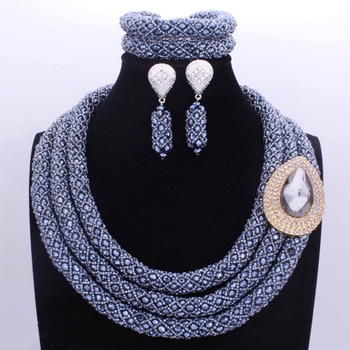 Gorgeous Black Silver Three Layers Nigerian Jewelry Sets Big Design Jewellery Sets For Women African Bridal Jewelry Set 2017