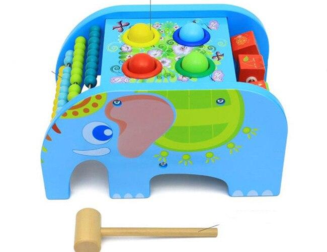 Nouveau jouet en bois multifonction éléphant frapper tables bébé jouet livraison gratuite