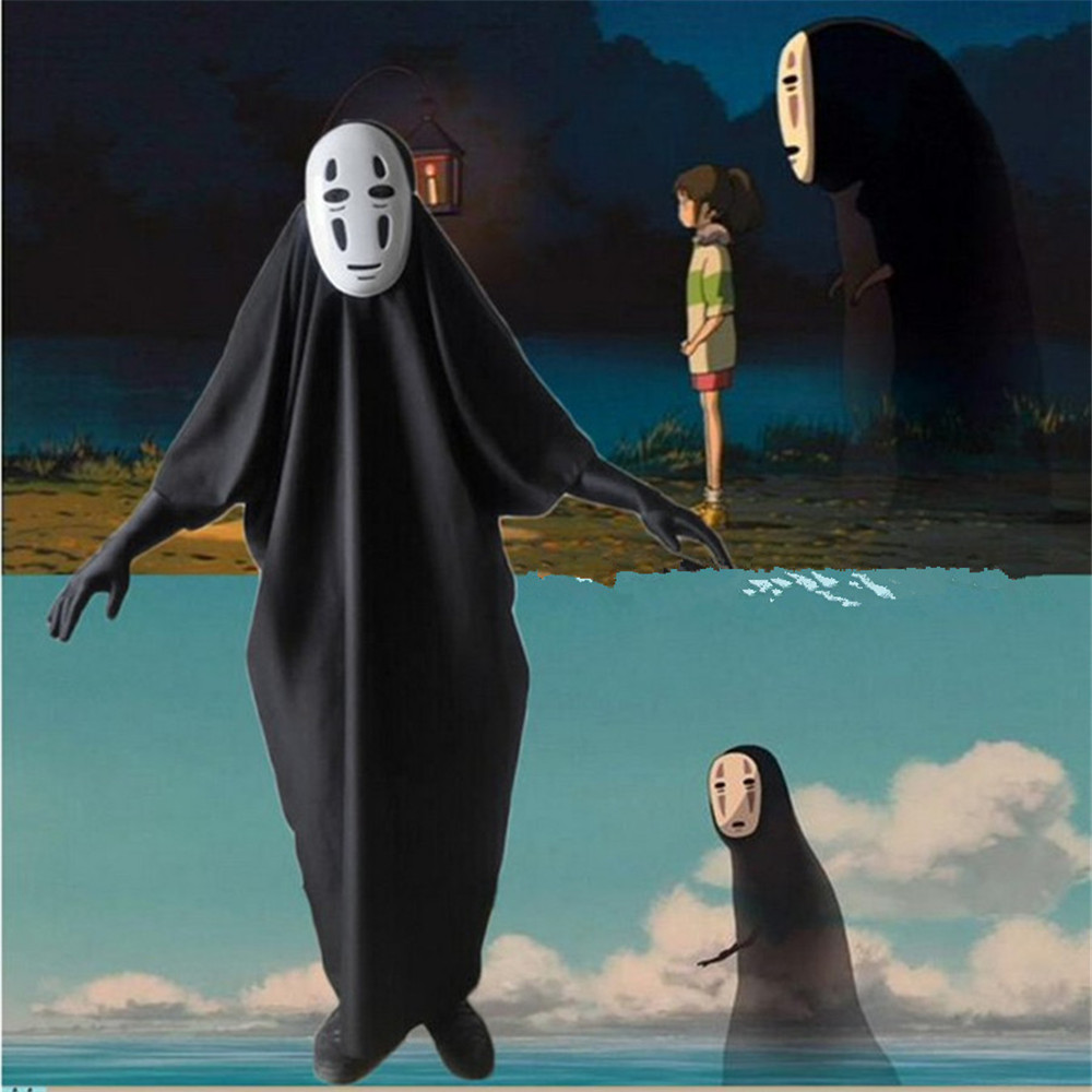 Cosplay Halloween Spirited Away No Face man Clothing Jumpsuits/Mask Devil Ghost Children kids Adult costumes  Bodysuit