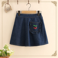 Harajuku Denim Skirts Women Ruffle Pocket Mini Jeans Skirt Female Sweet Solid High Waist Short Skirt