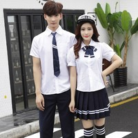 Girls School Uniform Class Dress Japanese School Uniform Graduation Suit Short Sleeve Suit Teenager Collge Uniform D 0203