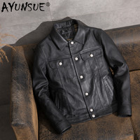 AYUNSUE Casual Men's Leather Jacket Sheepskin Coat Genuine Leather Jacket Men Vintage Motorcycle Veste Cuir Homme 1905 KJ2450