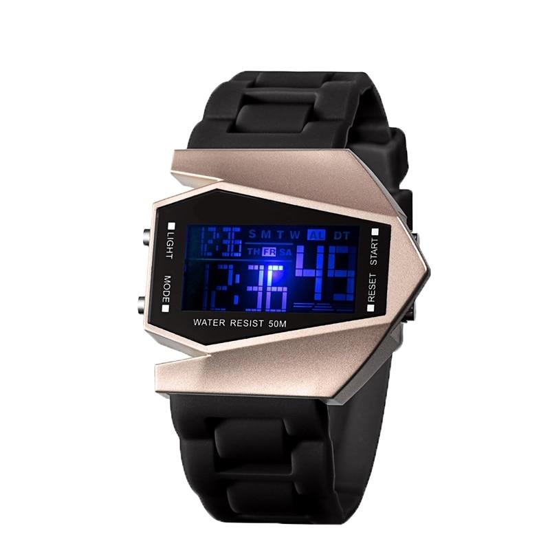 Aircraft Shape Watch LED Digital Men Watch Electronic Sport Watches Men Rose Gold Watch Men Women Clock Reloj Relogio Femme