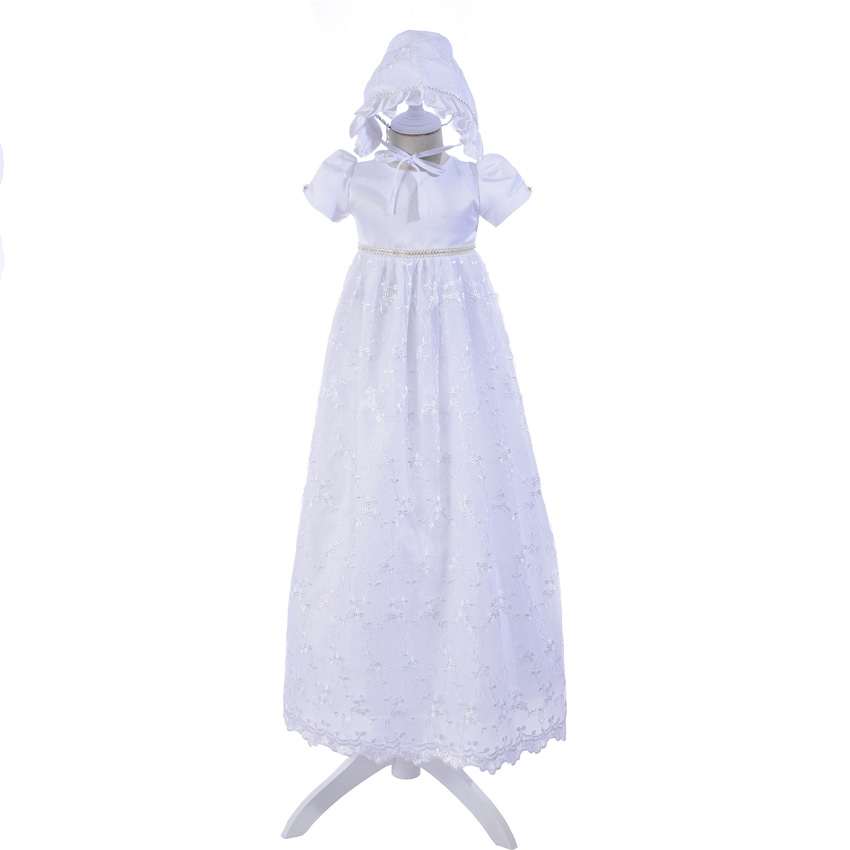 Nouveau 2018 Vintage enfant en bas âge bébé fille robe de baptême 1st fête d'anniversaire blanc Extra Long baptême nouveau-né mariage dentelle robe