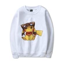 Cute anime Pocket Monster Pikachu O-NECK Cartoon Pattern Cool Design Cotton Sweatshirts with  Leisure Fashion Jumper