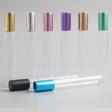 5pcs 10ml clear Empty Roll On Bottle glass tube metal Ball e Liquid Essential Oil perfume With multicolor Cap недорого