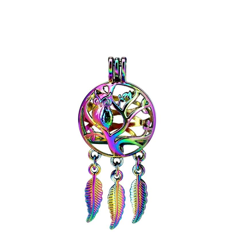 Glorious C890 5pcs/lot Rainbow Color Beaty Dream Catcher Tree Owl Round Ball Leaf Cage Pendant Pearl Locket Fairytale Party Pendants