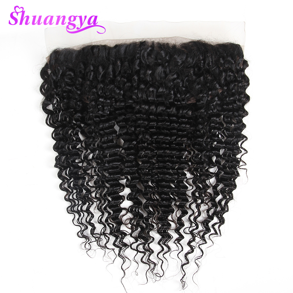 Brazilian Deep Wave Remy Lace Frontal Closure Swiss Lace 100 Human Hair Free Middle Part 13