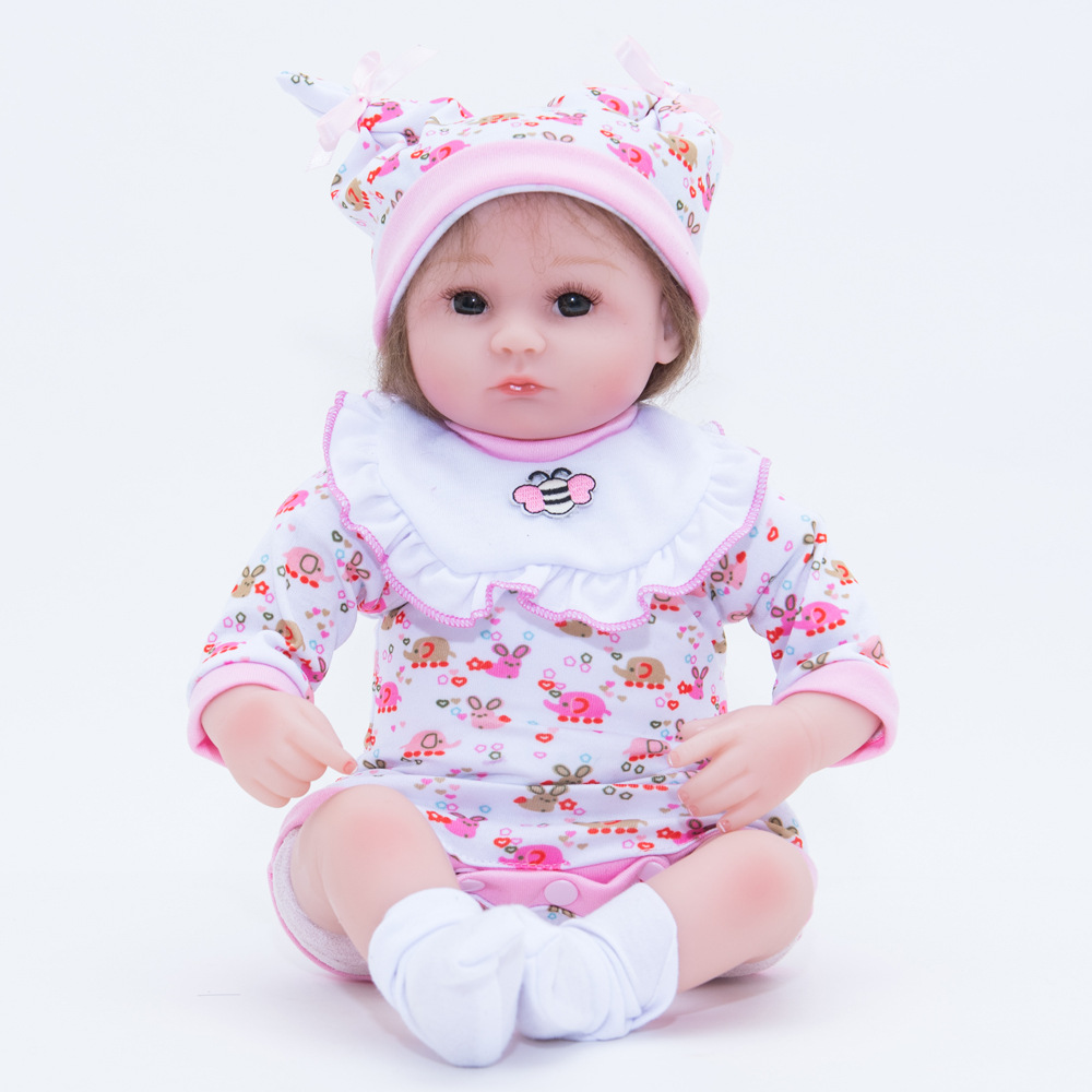 45cm Lifelike Reborn Girl Doll Soft Silicone Cute Princess Newborn Baby with Cloth Body Toy for Kids Birthday Christmas Gift nicery 18inch 45cm reborn baby doll magnetic mouth soft silicone lifelike girl toy gift for children christmas pink hat close