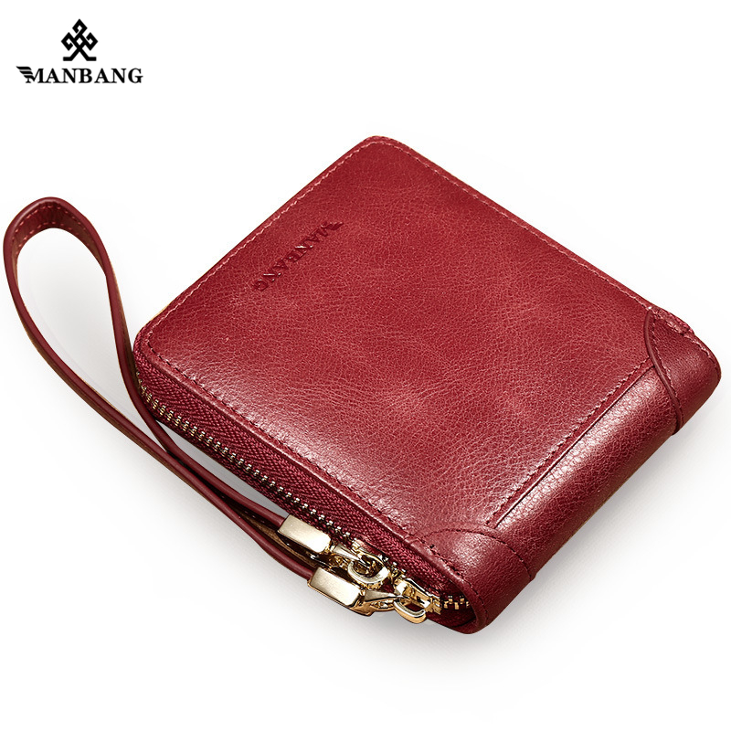 ManBang New Women Wallet Genuine Leather Women's Zipper Male Short Coin Purse Pockets Fine Gift For Card Holder High Quality