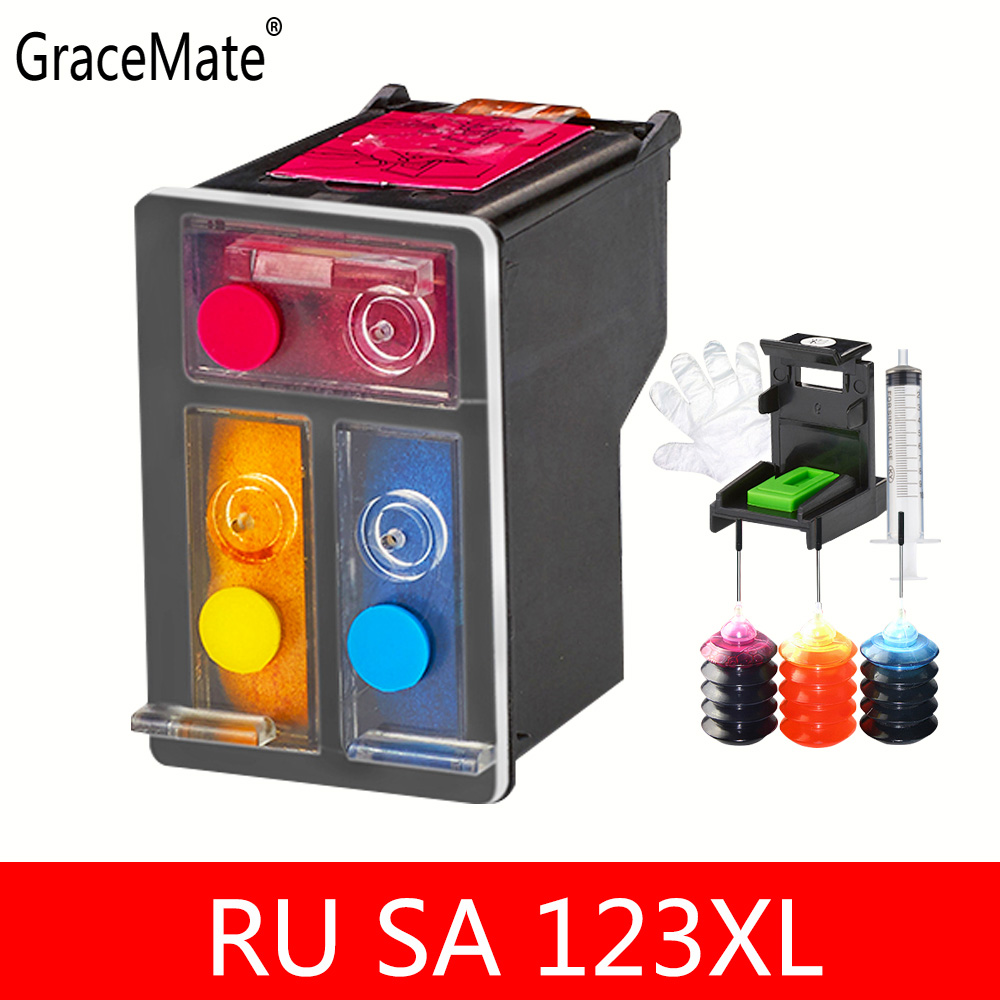 Russia Belarus 2130 Color refillable ink Replacment For <font><b>HP</b></font> 123 color Ink Cartridge For <font><b>HP</b></font> Deskjet 2130 1110 <font><b>3639</b></font> 3638 Printer image