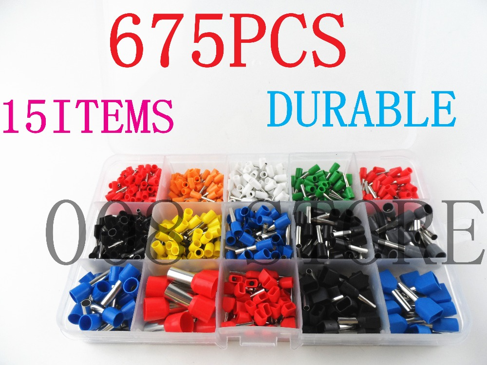 675pcs/Kit cable connector splice insulated terminal block kit wire cable ferrules crimp Pin end terminal from 22-8AWG 800pcs cable bootlace copper ferrules kit set wire electrical crimp connector insulated cord pin end terminal hand repair kit