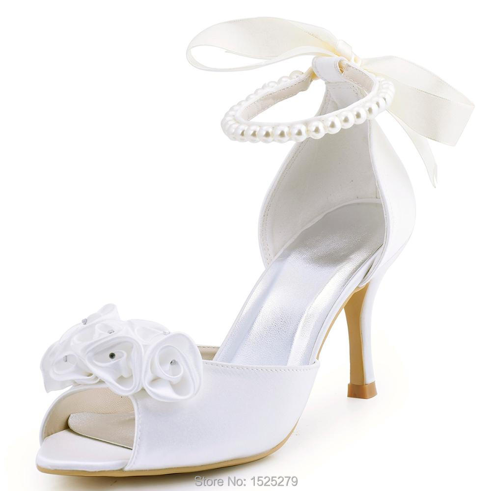 EP2092 Women White Ivory Peep Toe 3 High Heel Bride Party Evening Pumps Satin Lady Wedding Bride Dress Shoes ep2094ae navy blue teal women evening party pumps high heel peep toe satin bride bridesmaids bridal wedding shoes ivory white