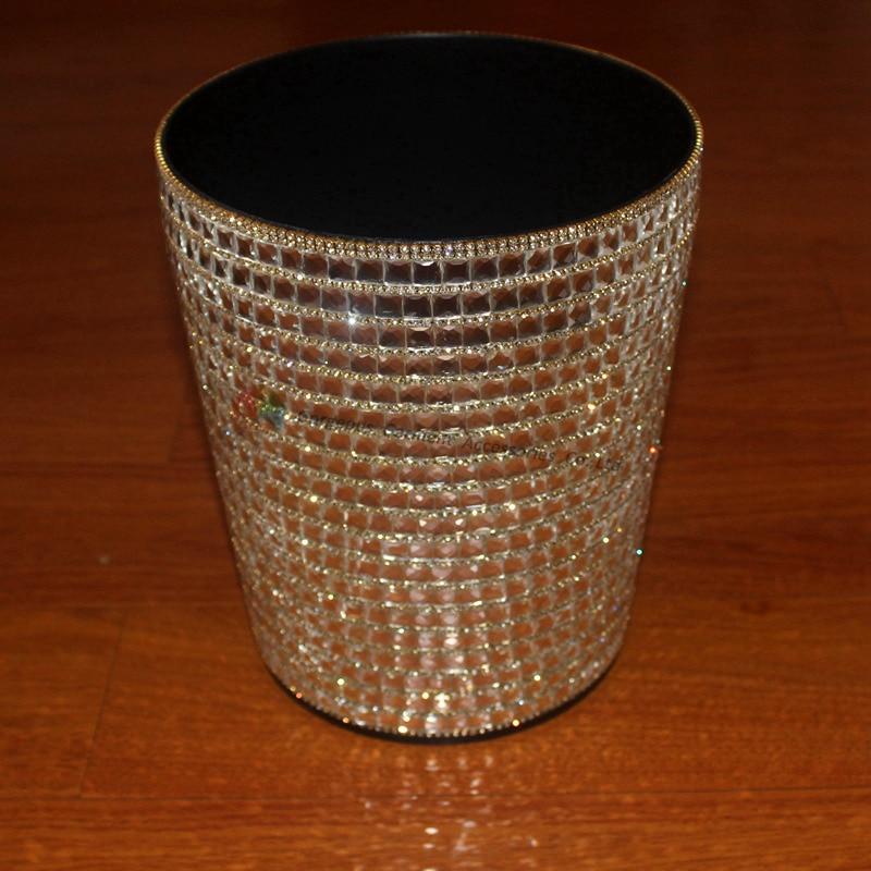 Bling Round Crystal Rhinestone Waste Bins Paper Basket