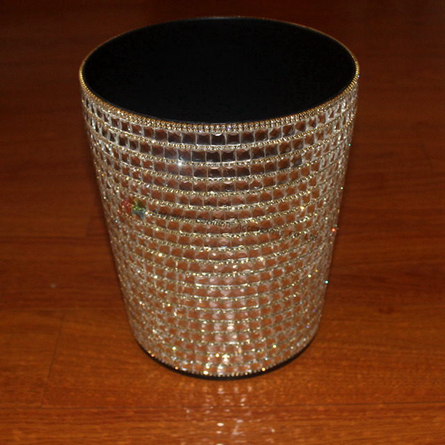 Bling Round Crystal Rhinestone Waste Bins Paper Basket Office Trash Bin  Table Dustbin Dining Room Kitchen