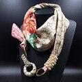 Las mujeres de La Vendimia Broches de Perlas de Cristal Colgantes Joyas Flor Imprimió la Bufanda de Seda Bufanda Caliente del Invierno Más Diseños Bufanda Bandana Poncho