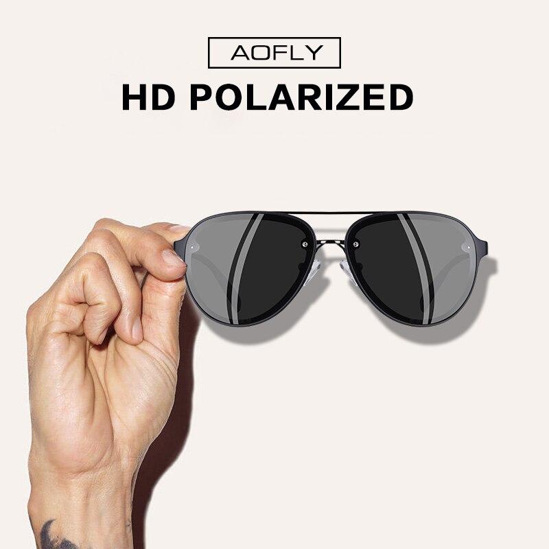Image 2 - AOFLY ブランドデザインパイロットサングラス男性偏光サングラス UV400 ユニークなオーバルフレーム眼鏡 Gafas デゾル AF8115    グループ上の アパレル アクセサリー からの サングラス の中