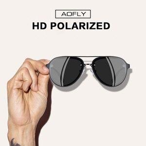 Image 2 - AOFLY di DISEGNO di MARCA Pilot Occhiali Da Sole Polarizzati Uomini di Guida Occhiali Da Sole UV400 Unico Cornice Ovale Occhiali Gafas De Sol AF8115