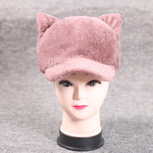 2915ae3aeba Real Fur Wool Hat For Women Casual Striped Cat Ear Winter Hats Natural Fur  Beanie Whole Female Fashion Warm Real Fur Caps mz050