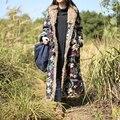 JN001 Nueva Llegada 2016 de la vendimia étnica impresa flor de lino con capucha de algodón acolchado de las mujeres maxi largo invierno outwear