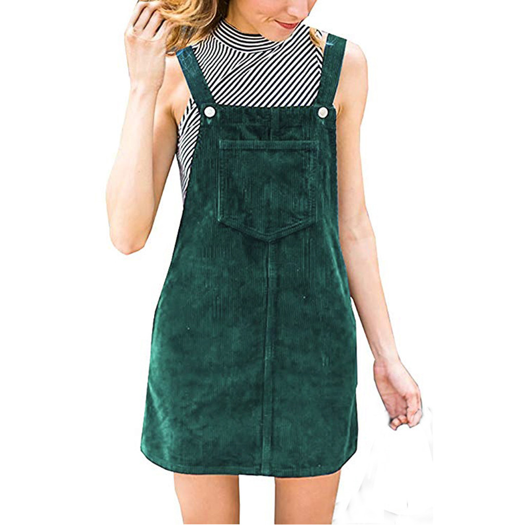 Women Girls Dress Women Corduroy Straight Suspender Mini <font><b>Bib</b></font> Overall Pinafore Casual Pocket Dress Causal Lady Pocket Strap Dress image