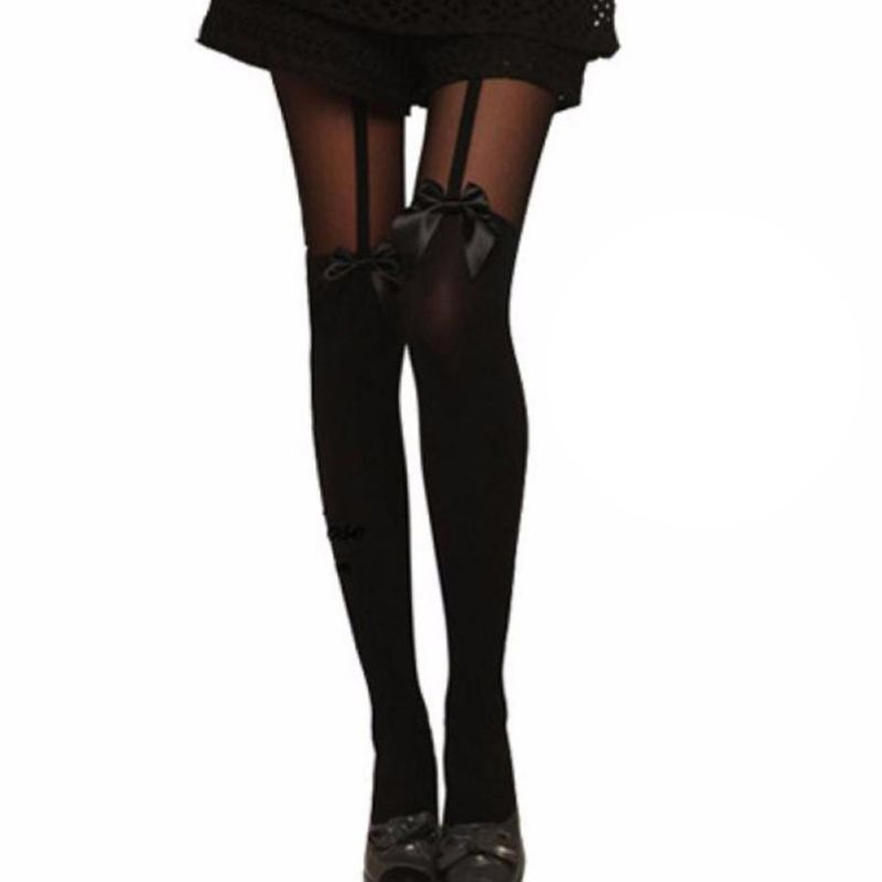 Women Sexy Stockings Thin Tights Bow Pantyhose Tattoo Mock Bow Suspender Sheer Stocking  ...