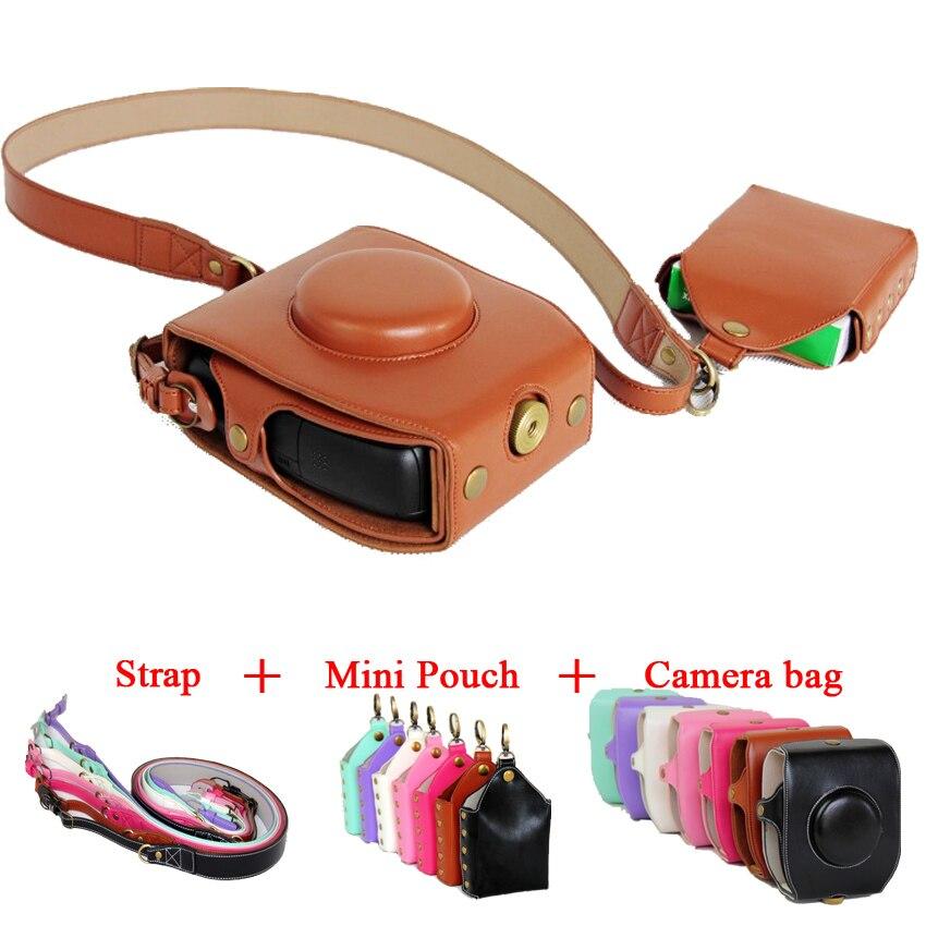 Date Cuir Pu Camera Case Housse Épaule Sac Pour Fujifilm Instax SQ10 Fuji SQ10 7 couleur